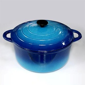 Round Cast Iron Casserole In Gradient Blue CR2914R