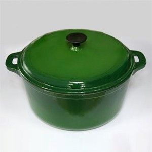Round Cast Iron Casserole In Green CR3015S