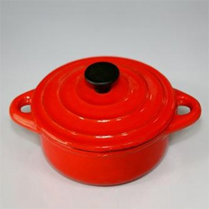Round Mini Cast Iron Casserole In Red, CR1250R