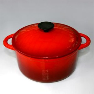 Round Cast Iron Oven In Red, CR2211S