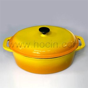 Oval Cast Iron Covered Casserole In Orange, HC01CO018