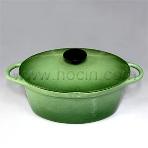 Oval Cast Iron Covered Casserole In Gradient Green, CO2510S