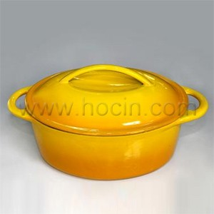 Oval Cast Iron Covered Casserole In Orange, CO2711S