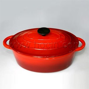 Oval Cast Iron Covered Casserole In Red, CO2912R