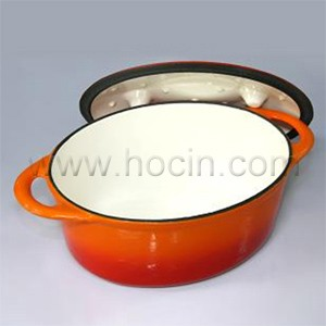 Oval Cast Iron Covered Dish In Orange, CO2711R