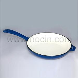 Round Enameled Cast Iron Frying Pan In Blue, CIPR2945H