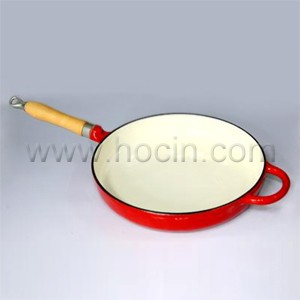 Round Cast Iron Frying Pan In Red, CIPR2962WH