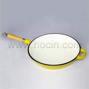 Round Enameled Cast Iron Frying Pan In Yellow, CIPR2945WSH